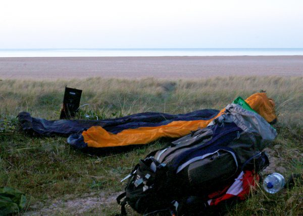 Finding a place to bivvy camp on a beach on the Norfolk Coast Path
